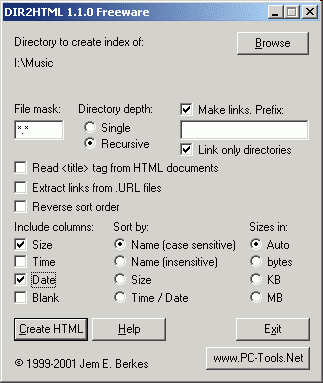 DIR2HTML - Create HTML indexes from directories